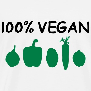 100% Vegan Logo Vegetables Vegans Vegetarian Chef Hoodies & Sweatshirts - Men's Premium T-Shirt