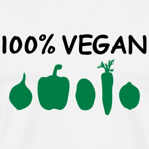 100% Vegan Logo Vegetables Vegans Vegetarian Chef Long Sleeve Shirts - Men's Premium T-Shirt