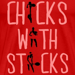 Tennis - chicks with sticks Topper - Premium T-skjorte for menn