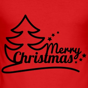 Sapin merry christmas Manches longues - Tee shirt près du corps Homme