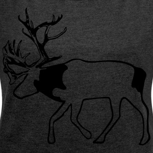 caribou - reindeer -  christmas - xmas Hoodies & Sweatshirts - Women's T-shirt with rolled up sleeves