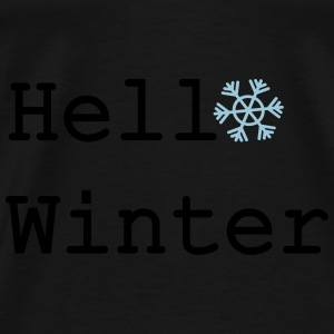 Hello winter typography Contrast Colour Hoodie - Men's Premium T-Shirt