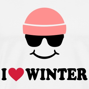 Smiley I love Winter Ski Wintersport Langarmshirts - Männer Premium T-Shirt