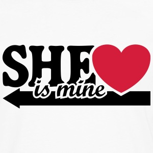 She is mine I love you my Girlfriend She's baby  T-shirts - Mannen Premium shirt met lange mouwen