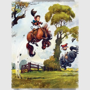 PonyRodeo Thelwell Cartoon  T-Shirts - Water Bottle