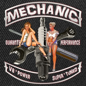Mechanic spark pinup girl T-Shirts back print - Snapback Cap