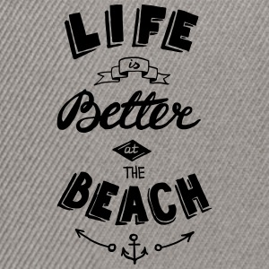 Negro jaspeado Life is better at the beach Camisetas - Gorra Snapback