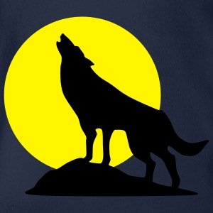 wolf and full moon - Organic Short-sleeved Baby Bodysuit