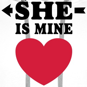 She is Mine I love you valentine Koszulki - Bluza męska Premium z kapturem
