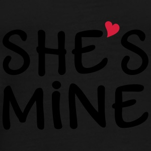 She is mine I love you my Girlfriend She's baby Caps & Hats - Men's Premium T-Shirt