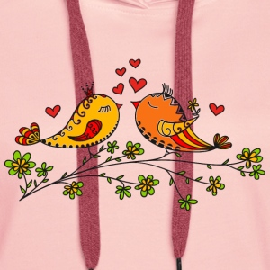 Birdie Love, Heart, Bird, Valentines Day Tee shirts - Sweat-shirt à capuche Premium pour femmes