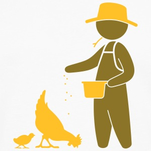 Farmer feeding the chickens  Aprons - Men's Premium Longsleeve Shirt