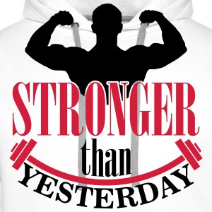 Stronger than yesterday T-skjorter - Premium hettegenser for menn