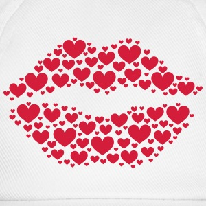 Kiss, lips, hearts, Valentines Day, Love, Kissing  Aprons - Baseball Cap