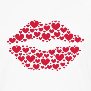 Kiss, lips, hearts, Valentines Day, Love, Kissing T-Shirts - Men's Premium Longsleeve Shirt