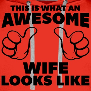 Awesome Wife Looks Like T-Shirts - Men's Premium Hoodie