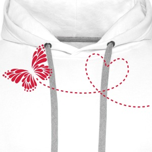 Butterfly, Heart, Love, Spring, Valentine's Day,  Long Sleeve Shirts - Men's Premium Hoodie