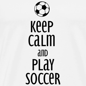 keep calm and play soccer Gensere - Premium T-skjorte for menn
