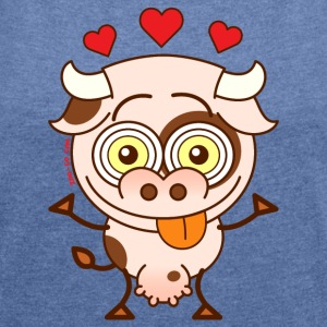 Cute cow falling madly in love Hoodies & Sweatshirts - Women's T-shirt with rolled up sleeves