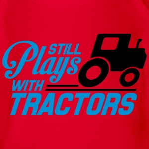 Still plays with tractors Shirts - Organic Short-sleeved Baby Bodysuit