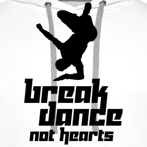 Break Dance Not Hearts (Vector) - Men's Premium Hoodie