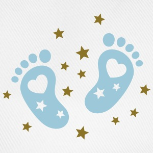 Baby feet with hearts and stars. Pregnancy baby T-Shirts - Baseball Cap