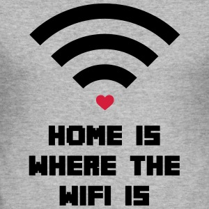 Home Where WiFi Is  Tröjor - Slim Fit T-shirt herr