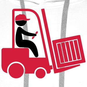 A forklift transporting a box T-Shirts - Men's Premium Hoodie