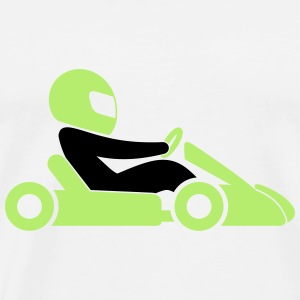 A racer with helmet and car Bags & Backpacks - Men's Premium T-Shirt