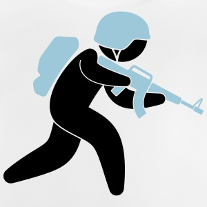 A soldier running with his assault rifle Shirts - Baby T-Shirt