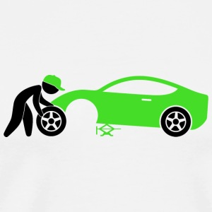 A mechanic repairing a car Mugs & Drinkware - Men's Premium T-Shirt
