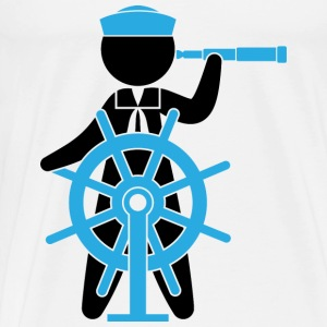 A sailor controls the rudder of a ship Other - Men's Premium T-Shirt