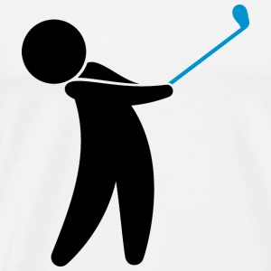 A golfer swings his golf club Mugs & Drinkware - Men's Premium T-Shirt