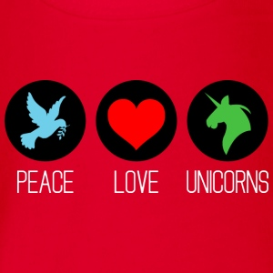 Peace, love and unicorns Tee shirts - Body bébé bio manches courtes