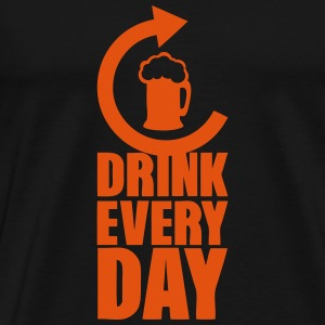 drink every day repeat alcool biere Langarmshirts - Männer Premium T-Shirt