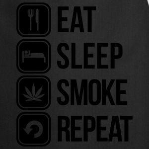 eat sleep smoke repeat T-Shirts - Cooking Apron