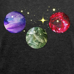 Planets Colourful Cosmic Art by patjila Pullover & Hoodies - Frauen T-Shirt mit gerollten Ärmeln