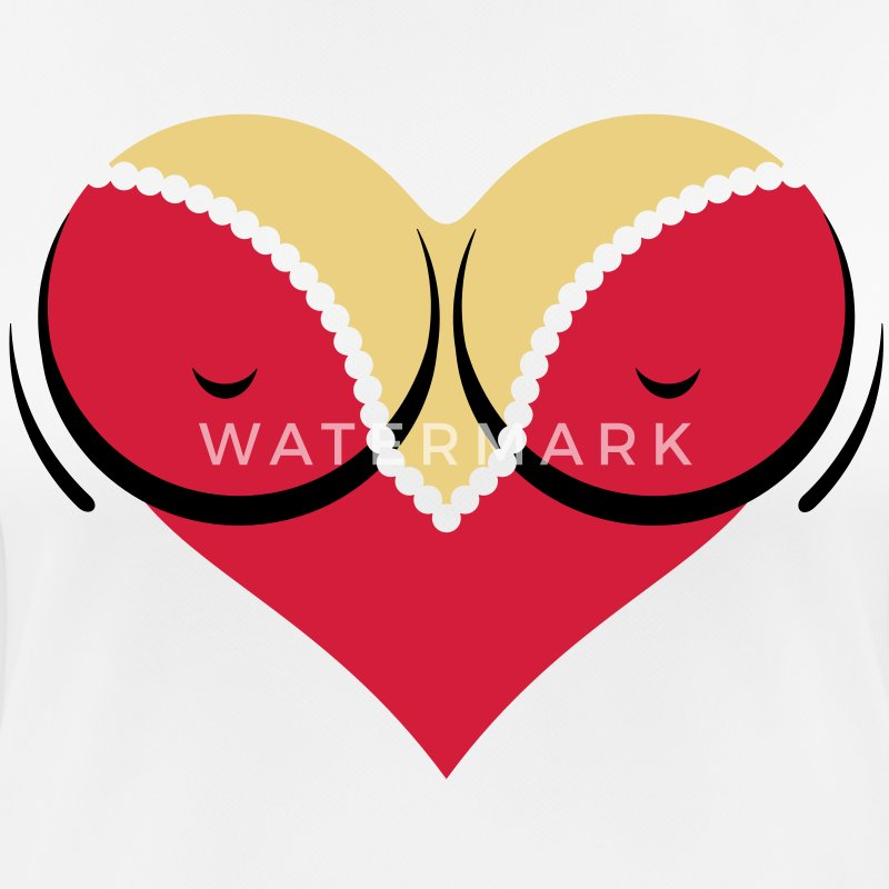 Heart-shaped woman s breasts with deep cleavage T-Shirts - Women's Breathable T-Shirt