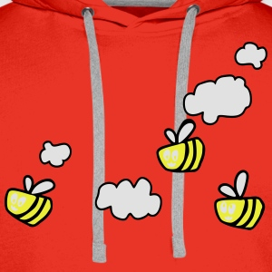 Bee in the Clouds Tee shirts - Sweat-shirt à capuche Premium pour hommes