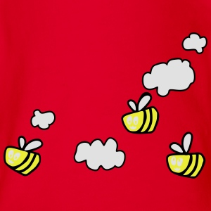Bee in the Clouds T-shirts - Kortærmet babybody, økologisk bomuld