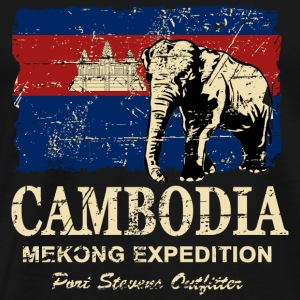 Cambodia - Elephant - Vintage Look  Manches longues - T-shirt Premium Homme