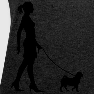 Walking the Dog - Pug Hoodies & Sweatshirts - Women's T-shirt with rolled up sleeves