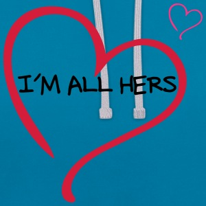 Couple I am all Hers T-Shirts - Contrast Colour Hoodie