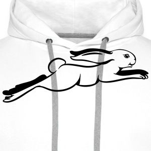 Running, jumping hare T-Shirts - Men's Premium Hoodie