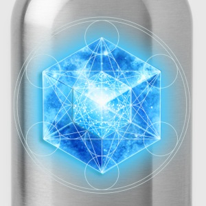 Metatrons Cube with TESSERACT, Hypercube 4D, digital, Symbol - Dimensional Shift,  T-skjorter - Drikkeflaske