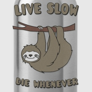 Funny & Cute Sloth Live Slow Die Whenever Slogan Manches longues - Gourde