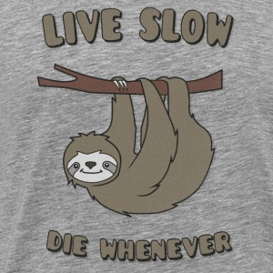 Funny & Cute Sloth Live Slow Die Whenever Slogan Manches longues - T-shirt Premium Homme