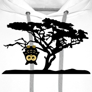 Owl Tree Hanging upside Different T-Shirts - Men's Premium Hoodie