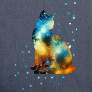 Space Katze on the Milky Way, Galaxie, Cat, Stern  - Schultertasche aus Recycling-Material