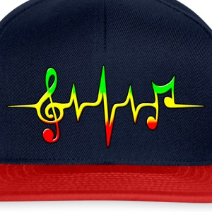 Reggae, music, notes, pulse, frequency, Rastafari T-shirts - Snapback Cap
